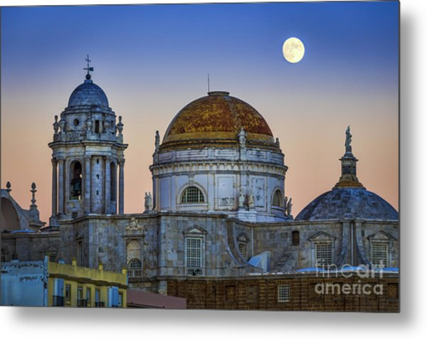 Full Moon Rising Over The Cathedral Cadiz Spain Metal Print