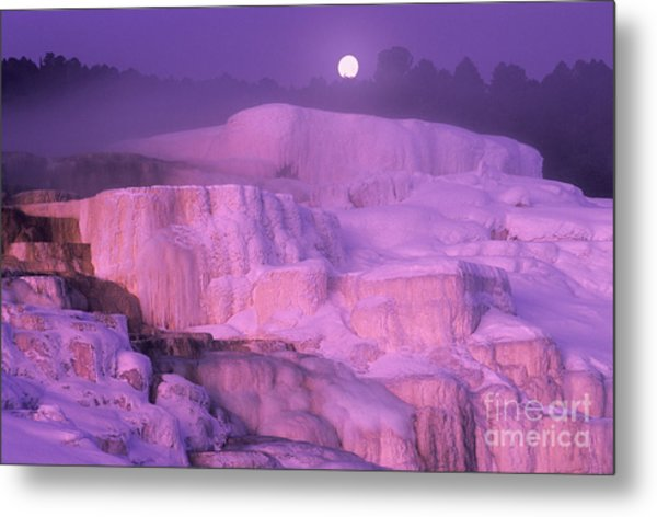 Metal Print featuring the photograph Full Moon Sets Over Minerva Springs On A Winter Morning Yellowstone National Park by Dave Welling