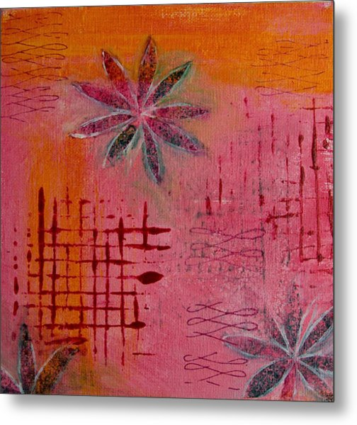 Metal Print featuring the painting Fun Flowers In Pink And Orange 1 by Jocelyn Friis