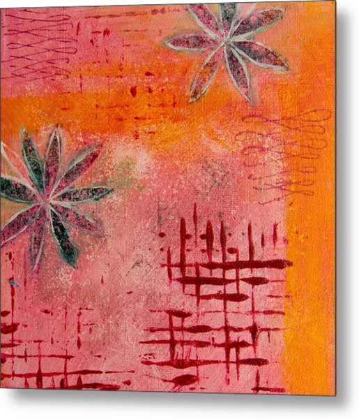 Metal Print featuring the painting Fun Flowers In Pink And Orange 2 by Jocelyn Friis