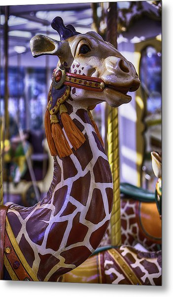 Fun Giraffe Carousel Ride Metal Print