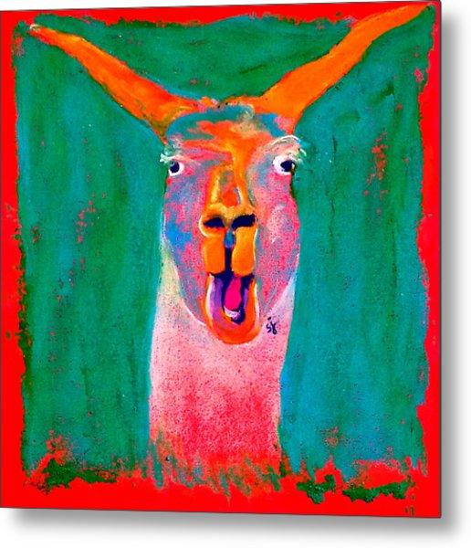 Funky Llama Art Print Metal Print