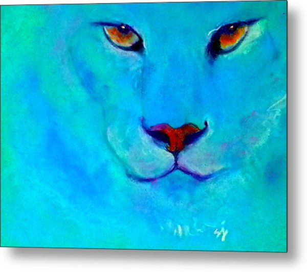 Funky Snow Leopard Turquoise Metal Print