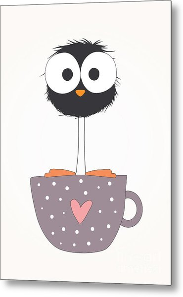 Funny Bird On A Cup Illustration Metal Print