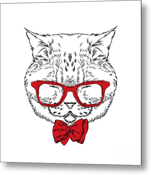 Funny Cat In A Tie And Glasses. Vector Metal Print