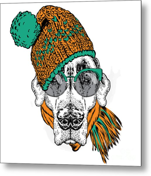 Funny Dog In Hat, Scarf And Glasses Metal Print