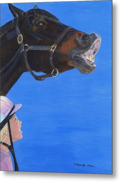 Funny Face - Horse And Child Metal Print