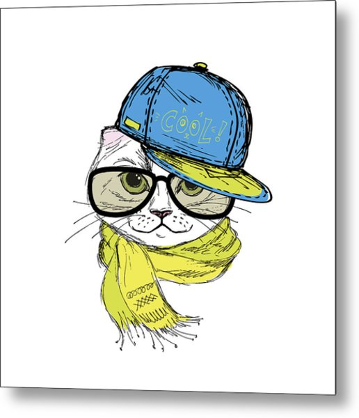 Funny Fashion Cat In A Cap And Glasses Metal Print