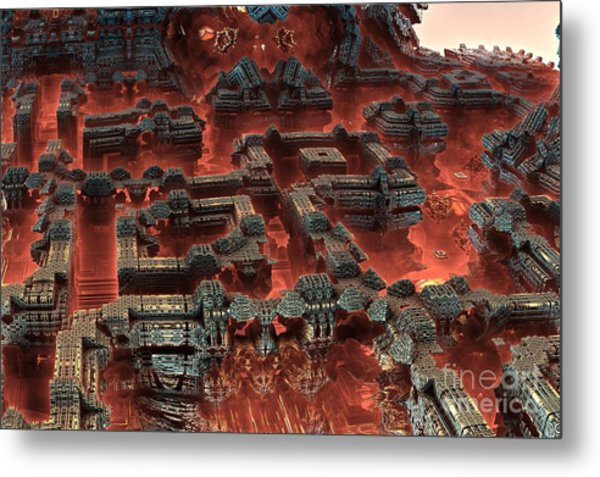 Future City In Red Metal Print by Bernard MICHEL