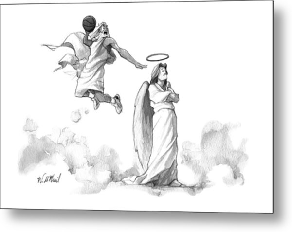 G-d Slam Dunks On An Angel's Halo Metal Print