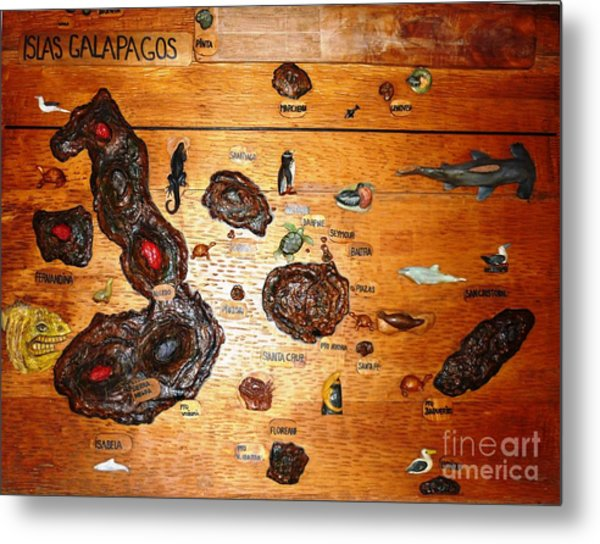 Galapagos Islands Map Metal Print