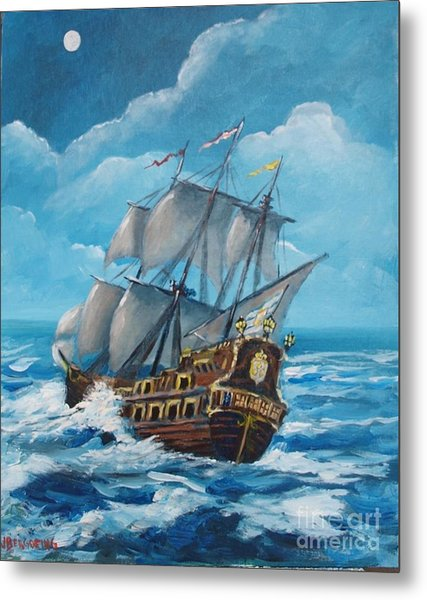 Galleon At Night Metal Print