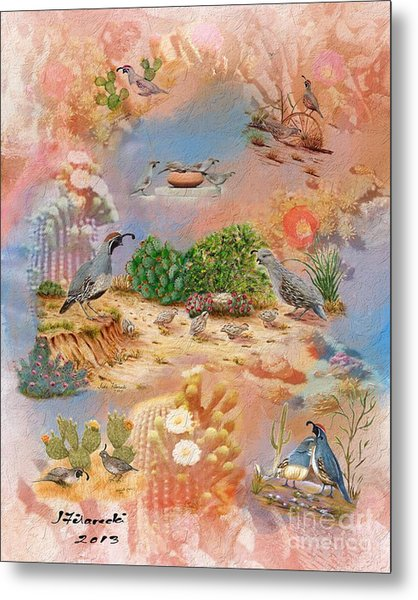 Gambel Quail Collage-southwest Art Metal Print