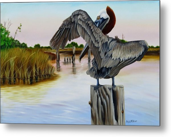 Gar Lake Pelican 2 Metal Print