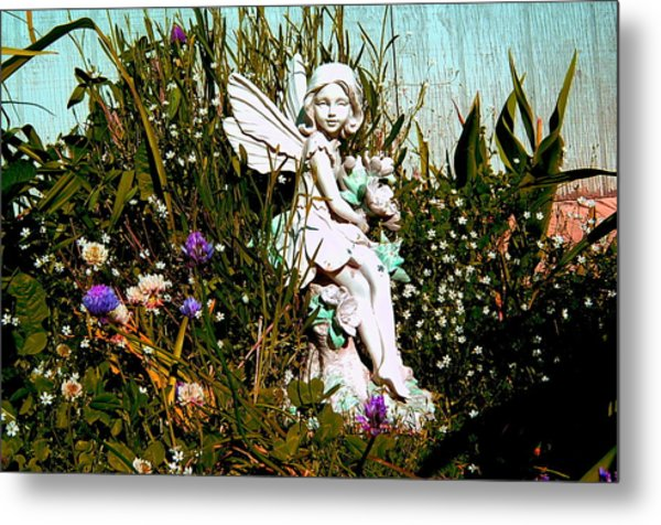 Garden Angel Metal Print by Mavis Reid Nugent