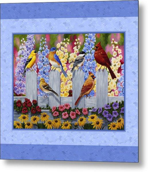 Garden Birds Duvet Cover Blue Metal Print