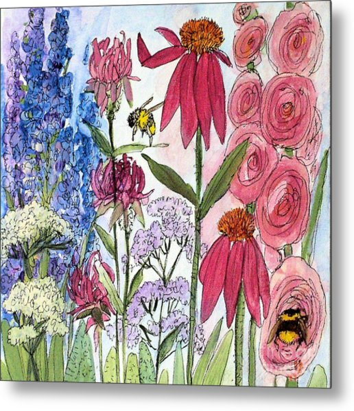 Garden Flower And Bees Metal Print