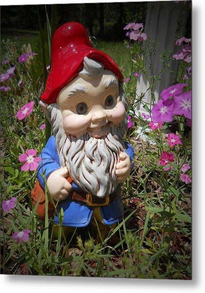 Metal Print featuring the photograph Garden Gnome by Judy Hall-Folde
