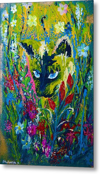 Garden Hunter Cat Painting Metal Print