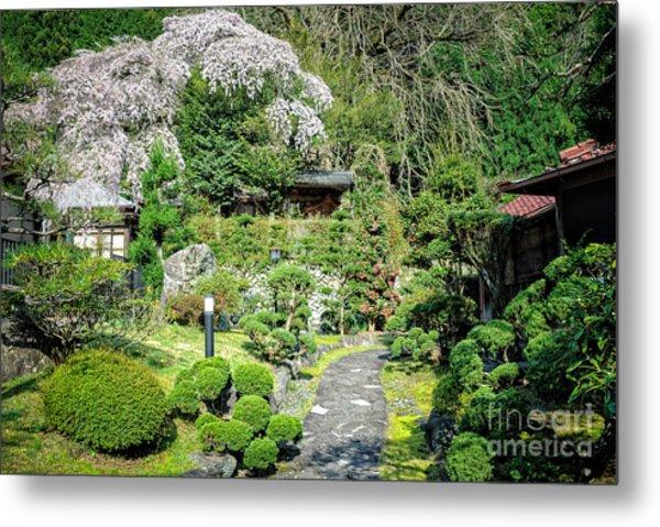 Garden Of A Japanese Ryokan With Sakura - Cherry Blossom Metal Print