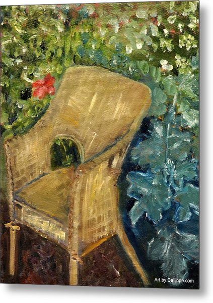 Garden Reading Chair Metal Print