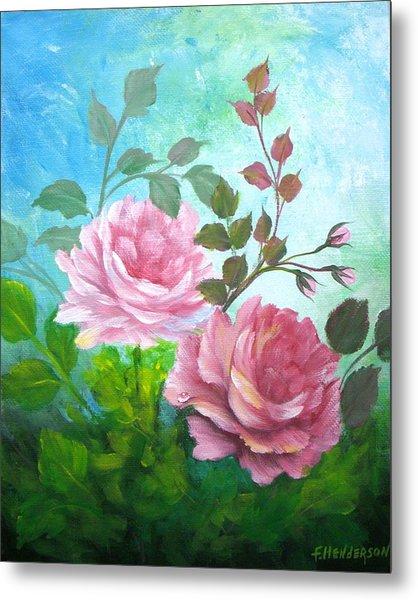 Garden Roses Metal Print by Francine Henderson