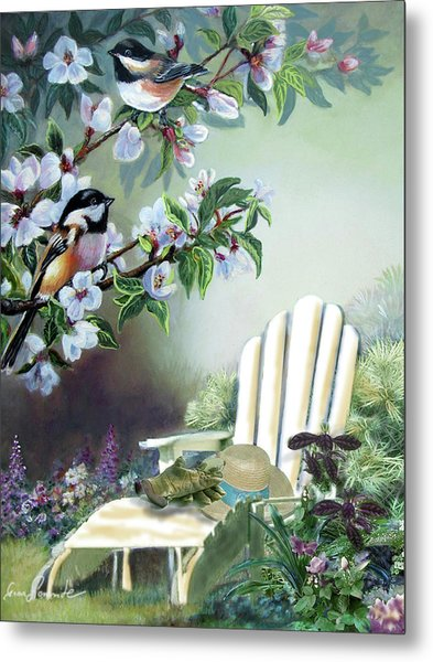 Chickadees In Blossom Tree Metal Print