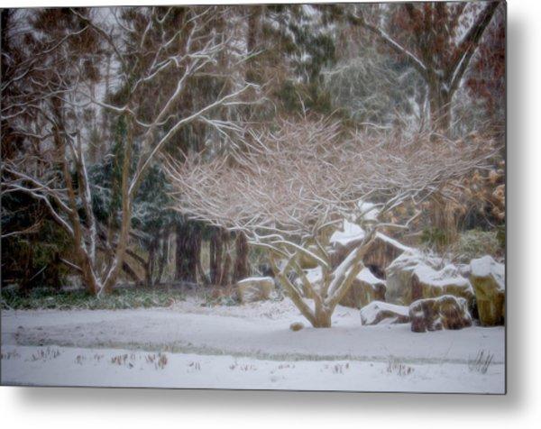 Garden Scene During Winter Snow At Sayen Gardens 2 Metal Print