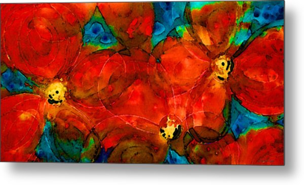 Garden Spirits - Vibrant Red Flowers By Sharon Cummings Metal Print