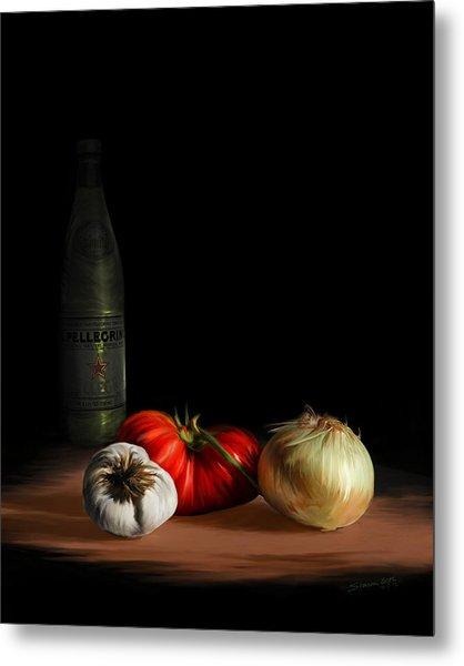 Garden Vegetables With Pellegrino Metal Print