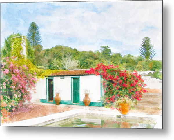 Garden Watercolor Painting Metal Print