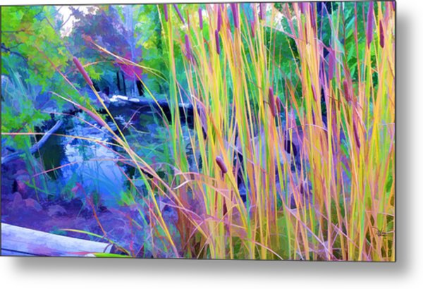 Garden With Koi Pond And Cattails Metal Print