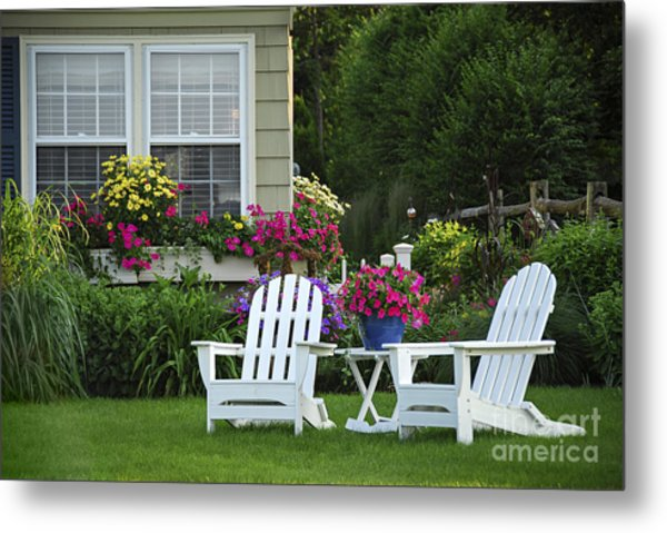 Garden With Lawn Chairs Metal Print