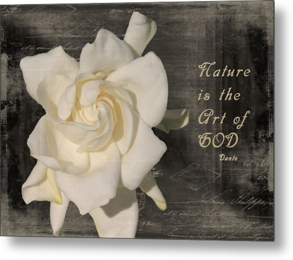 Gardenia And Quote Metal Print