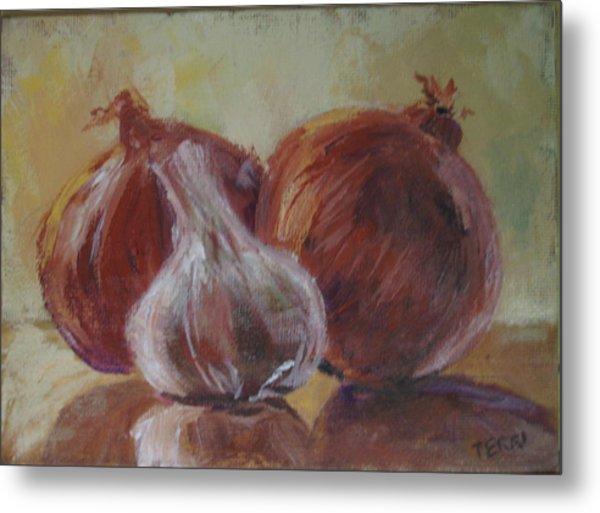Garlic And Onions Metal Print by Terri Messinger
