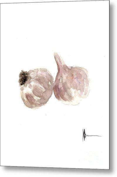 Garlic Watercolor Art Print Painting Metal Print