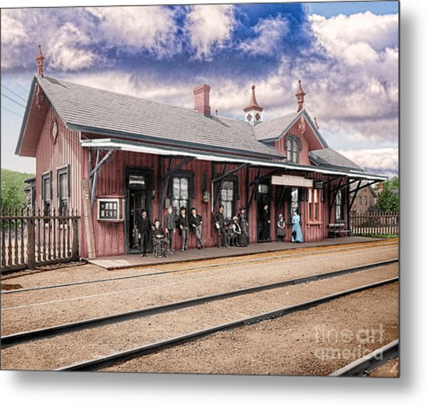 Garrison Train Station Colorized Metal Print