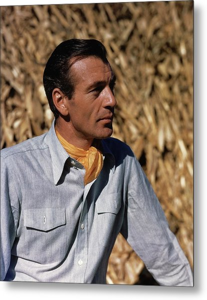 Gary Cooper In Profile Metal Print by Alexander Paal