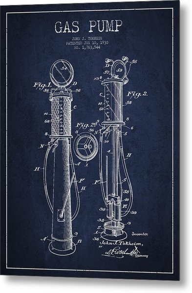Gas Pump Patent Drawing From 1930 - Navy Blue Metal Print