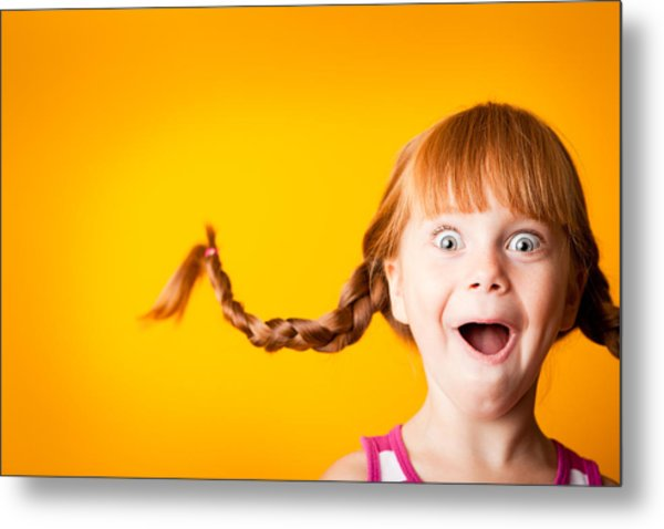 Gasping Red-haired Girl With Upward Braids And Excited Look Metal Print by Ideabug