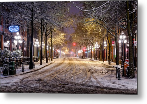 Gastown Snow Metal Print
