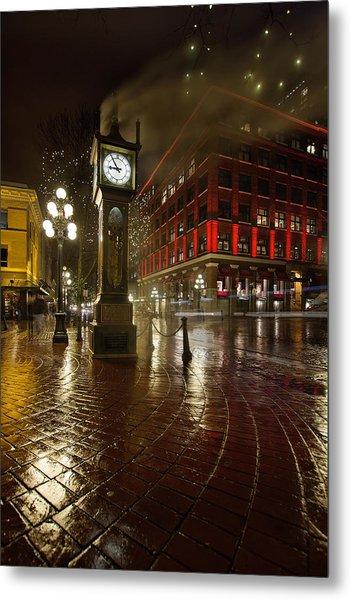 Gastown Steam Clock On A Rainy Night Vertical Metal Print