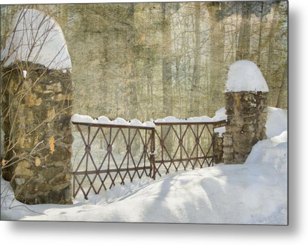 Gated In The Snow Metal Print