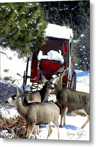 Gathering At The Old Stage Coach.. Metal Print