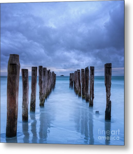 Gathering Storm Clouds Over Old Jetty Metal Print