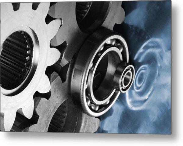 Gears And Cogwheels Reflection Metal Print