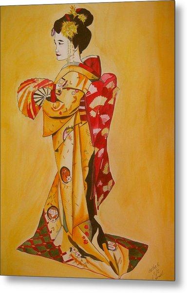 Geisha In Gold Kimono Metal Print by Sacha Grossel
