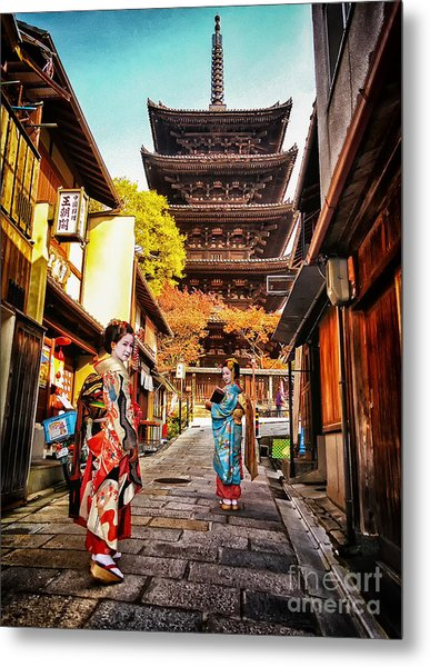 Geisha Temple Metal Print