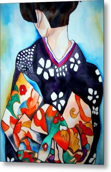 Geisha With Colourful Obi Metal Print by Sacha Grossel