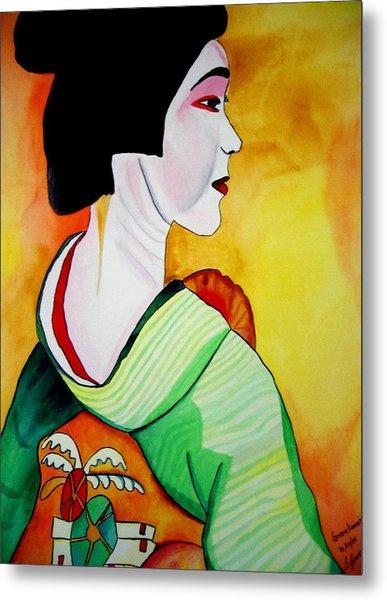 Geisha With Green Kimono Metal Print by Sacha Grossel